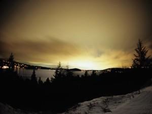 winter city scape - coeurdalene lake, idaho