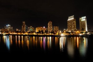 night life - san diego harbor, california