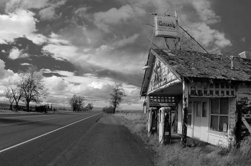 Old gas station on an old highway